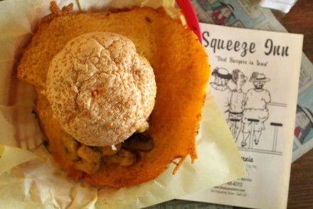 Squeeze Inn Cheeseburger Cheese Skirt from the top down