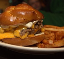 Cheesesteak Pretzel Roll Burger at PYT Philly in Philadelphia, PA
