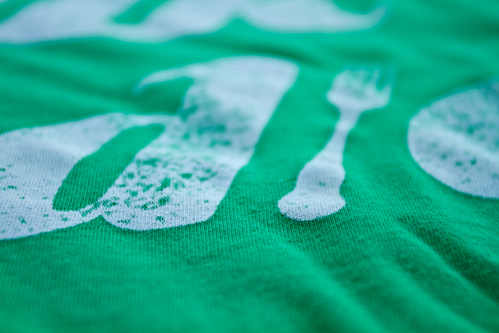 Closeup of the super cool water based discharge screen printed design
