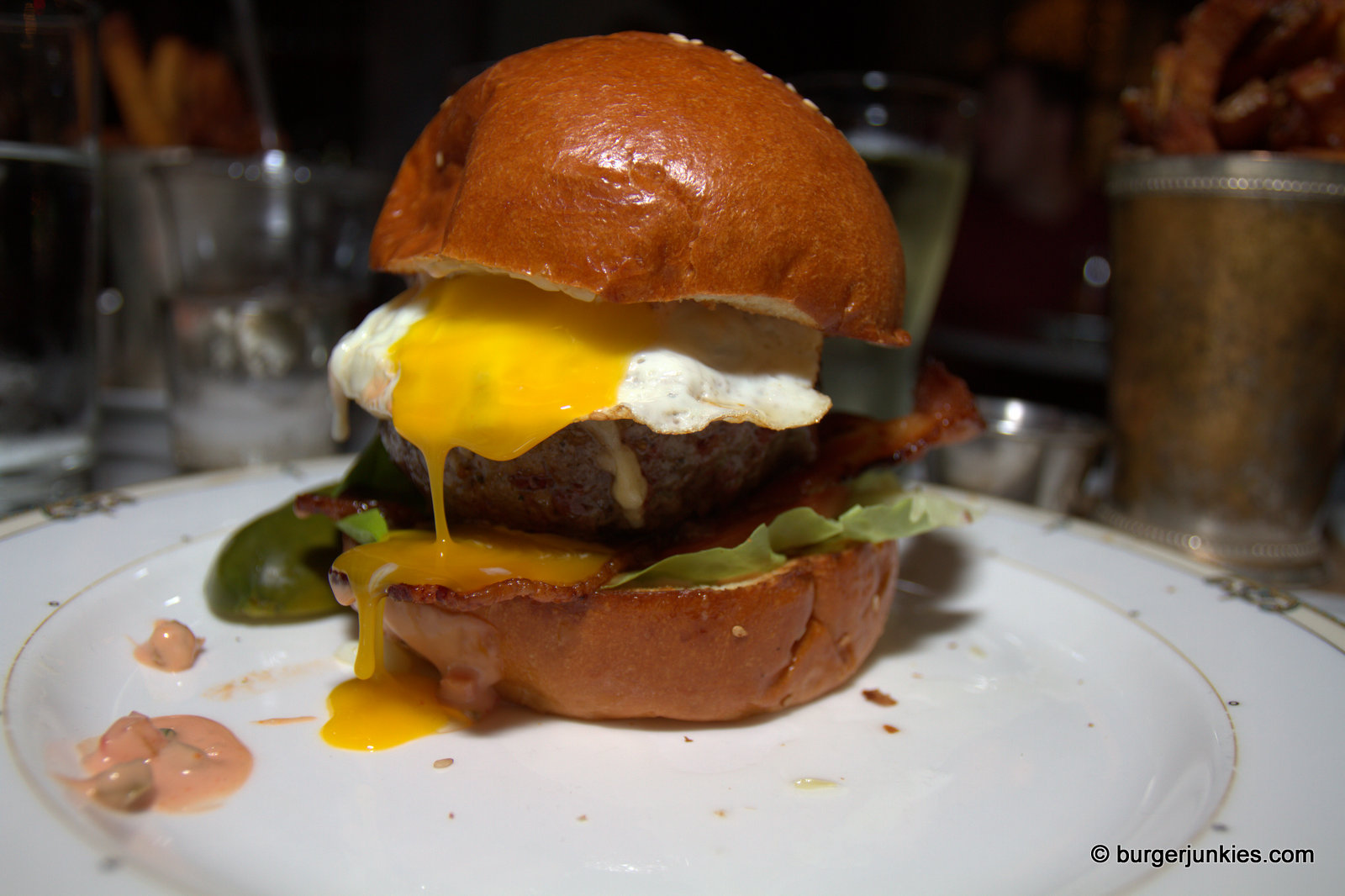 Village Burger with fried egg and bacon - Village Whiskey Philadelphia, PA