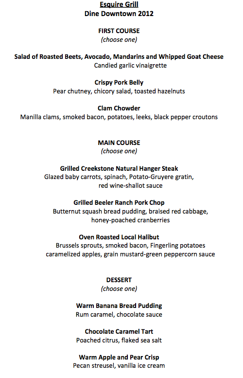 Esquire Grill Dine Downtown Menu